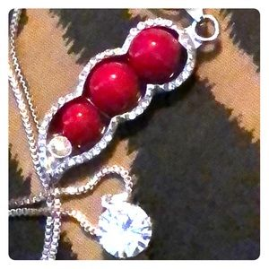 Jewelry - 🌺Red Pea Pod Crystal Silver Tone Necklace